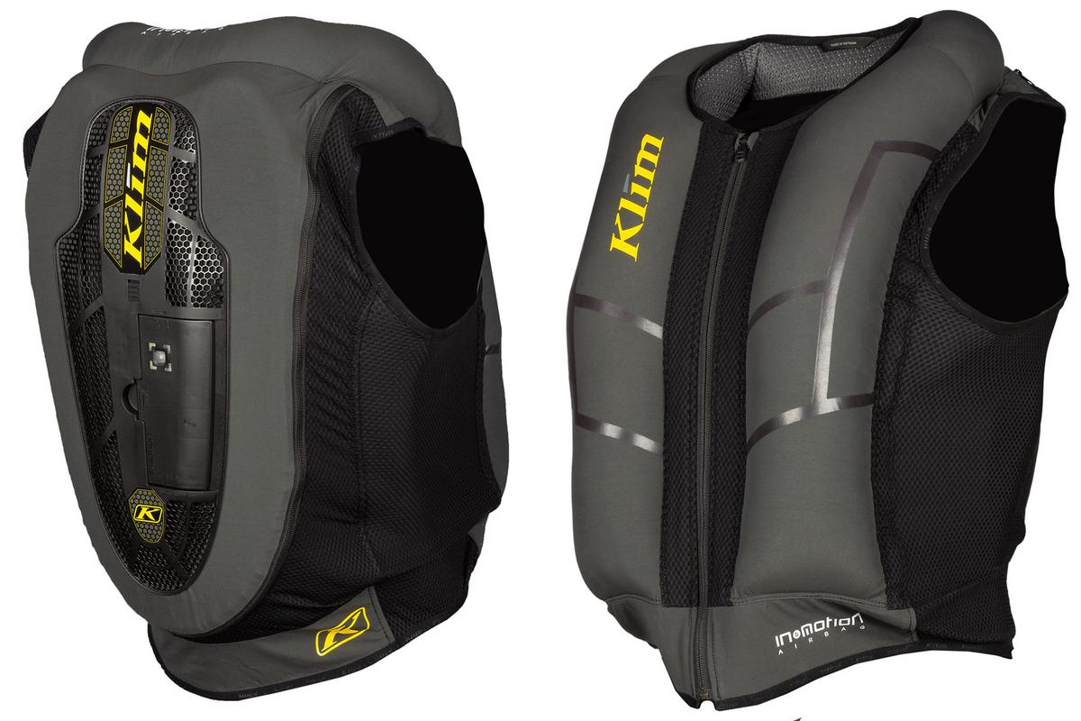The Klim AI-1 airbag vest, with integrated CE back protector and In&Motion AI-driven airbag protection, slips under your normal riding jacket