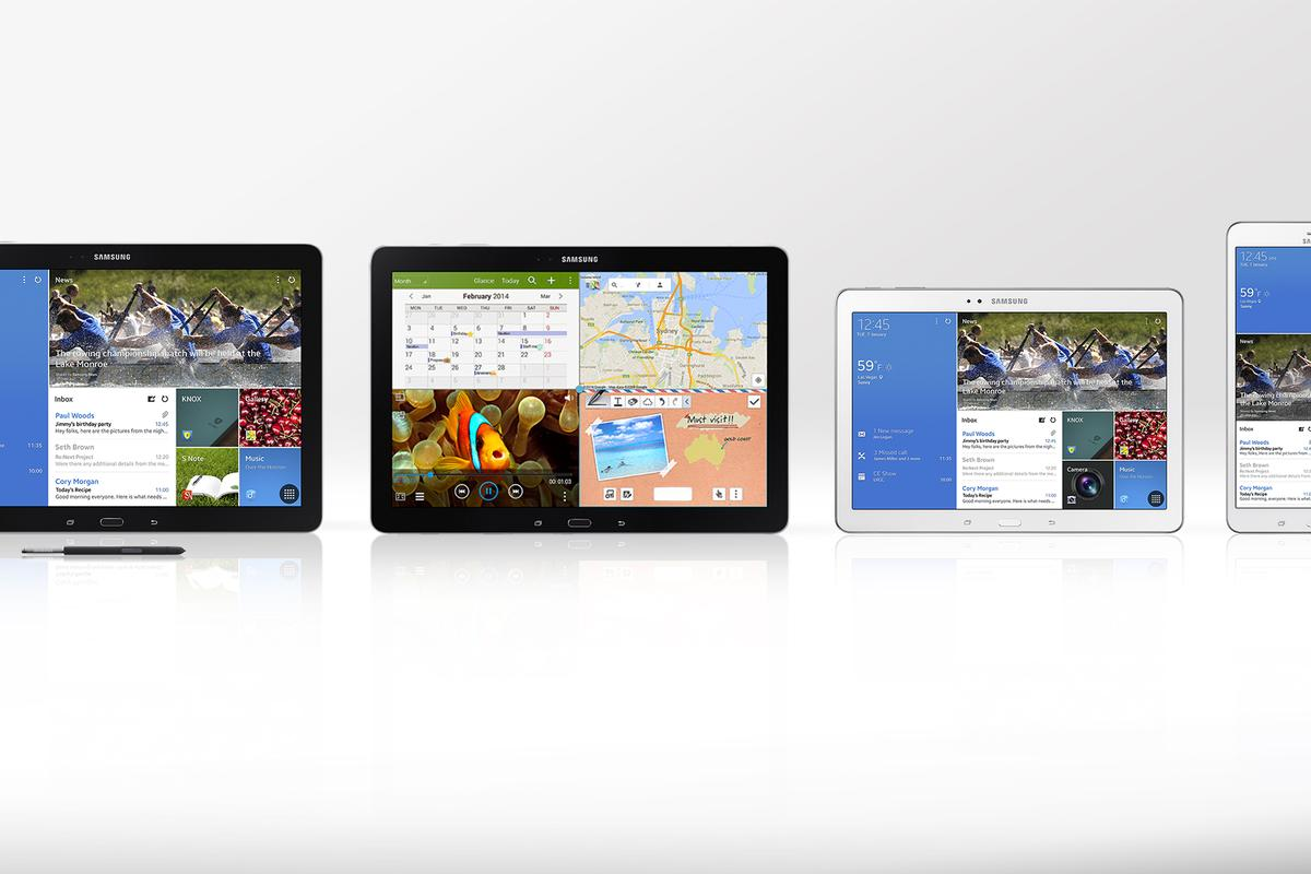 Gizmag compares the features and specs of the Samsung Galaxy Note Pro, Galaxy Tab Pro 12.2, Galaxy Tab Pro 10.1, and Galaxy Tab Pro 8.4