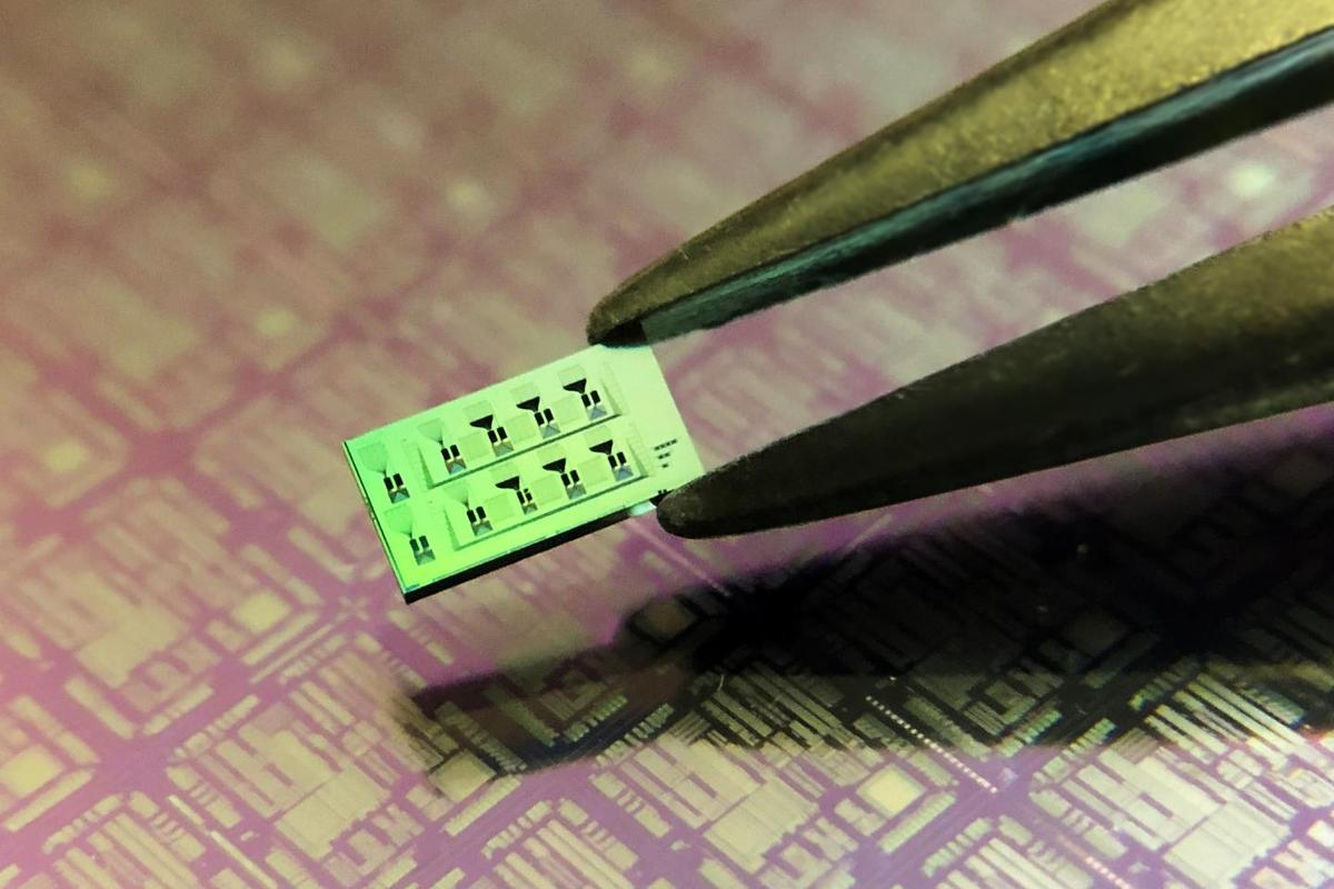A silicon chip with an array of ultrasound detectors that are invisible to the human eye, with the black engravings seen on top the photonic circuits that connect the different detectors