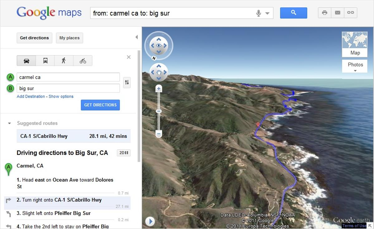 A trip down California's Highway 1 is a perfect one to check out with Google's new Helicopter View