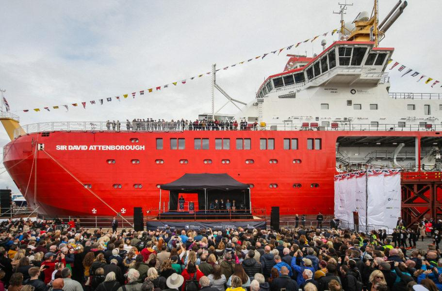 The RSS Sir David Attenborough pictured during its official naming ceremony