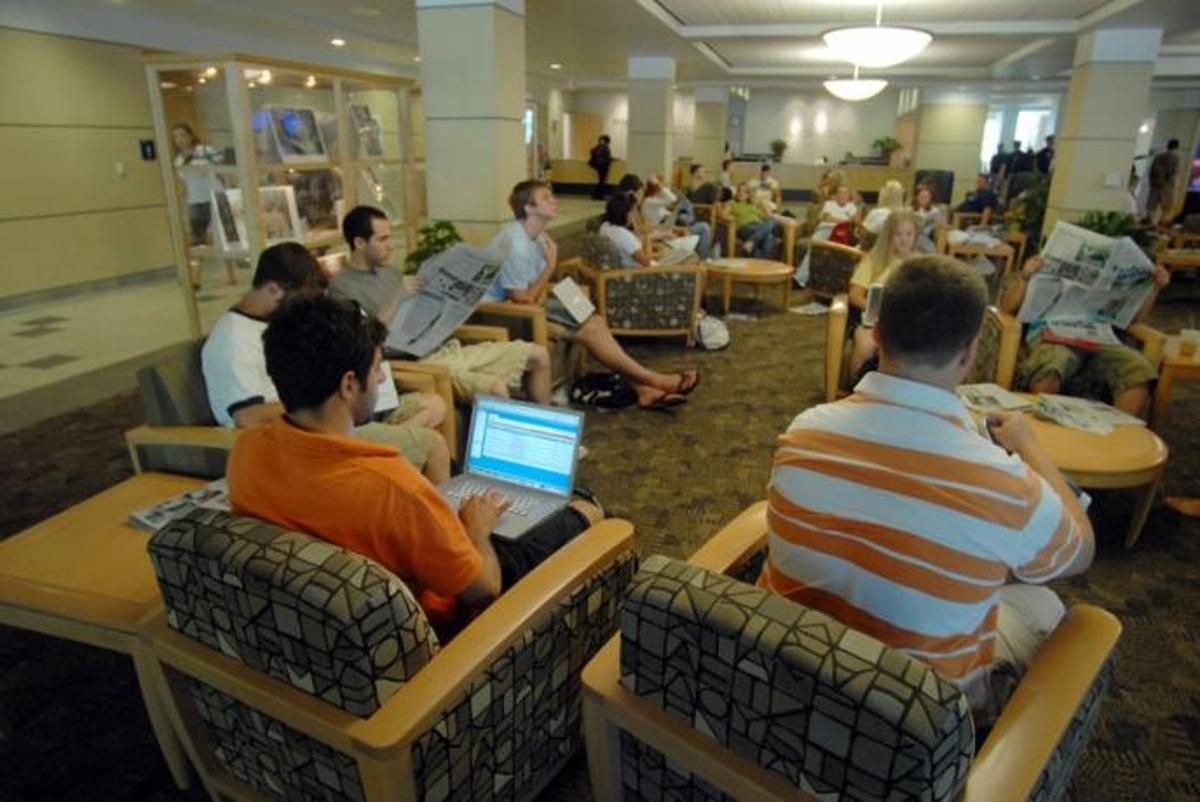 The Wi-Fi connection in the HUB-Robeson Center at Penn State being used by students. Research indicates that networks in the future could use lighting systems to help transmit data (Images: Penn State)