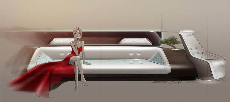 The concept designs feature long couches