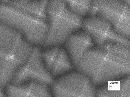 Silicon pyramid structures etched for two minutes using hydrogen fluoride/hydrogen peroxide/water solution. Resulting structure has roughness at the micro and nanometer scales.Pic credit: C.P. Wong