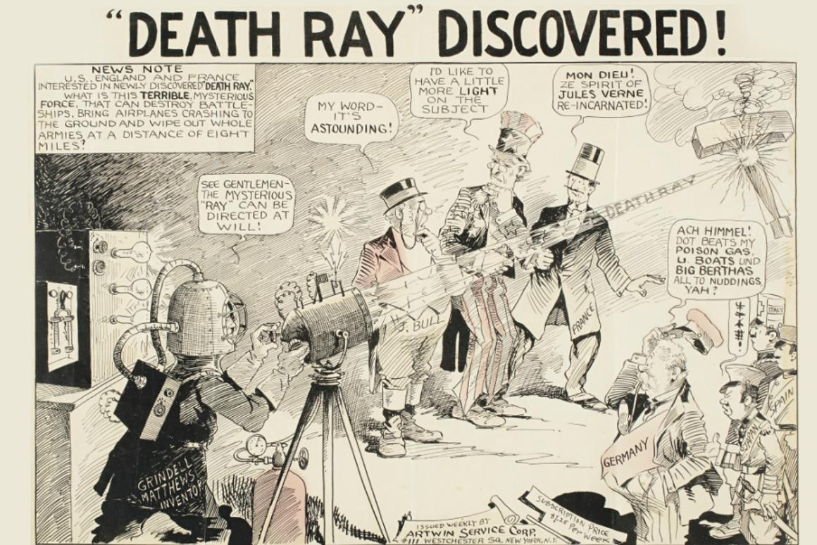 """Artwork from a 1924newspaper cartoonillustrating the mediahype around the """"death ray"""", a weapon system claimed to have been invented by Harry Grindell Matthews and others(inc.Guglielmo MarconiandNikola Tesla)."""