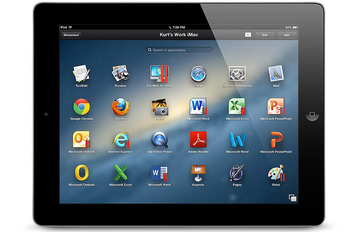 Parallels Access has an app launcher that simulates the look of the iPad's home screen