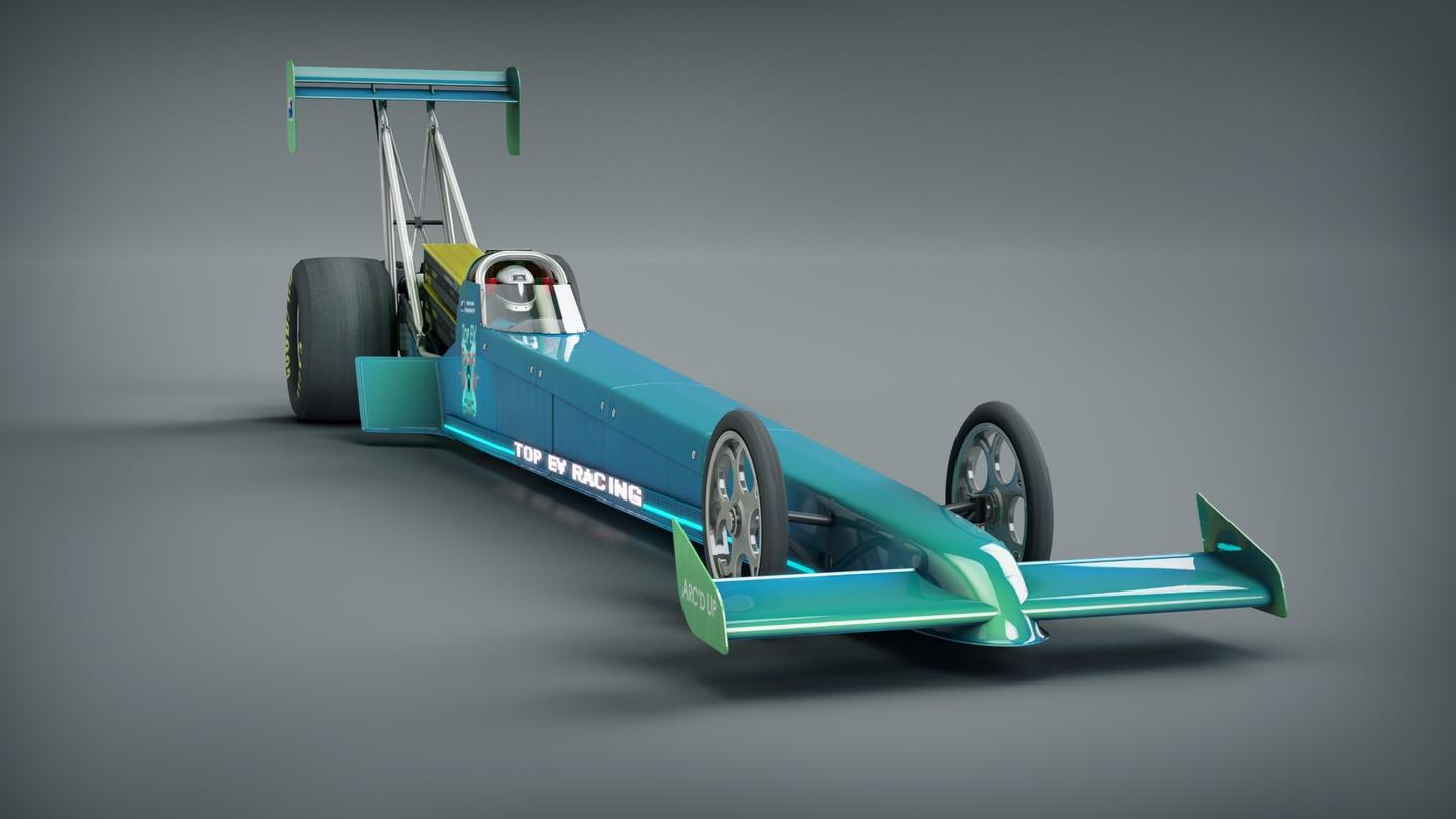 Top EV Racing's Arc'd Up dragster, featuring bright information readouts down the side