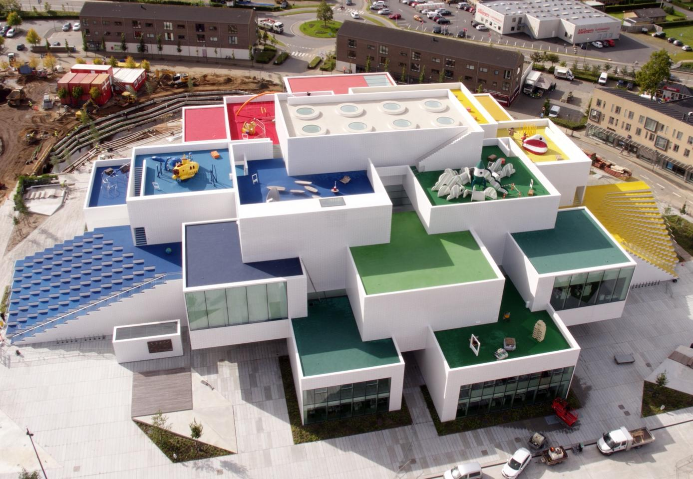 The Lego House appears to be constructed from oversized Lego bricks