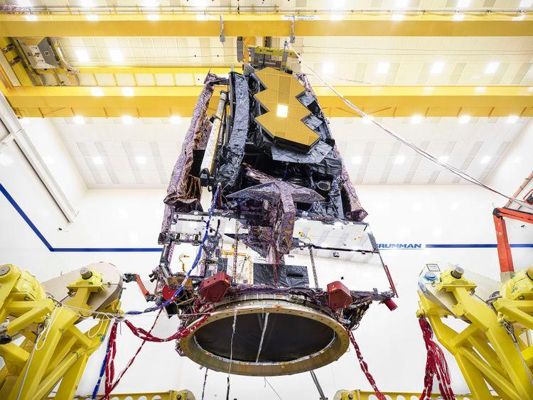 The James Webb Space Telescope being prepared for transportation to the testing facilities