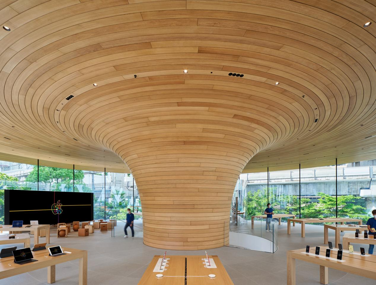 Apple Central World's timber centerpiece is made up of 1,461 oak slats