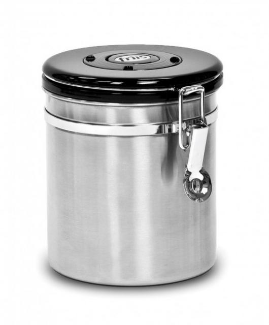The Friis Coffee Savor canister with the special lid that vents CO2 gases which ruin good coffee beans (Photo: Business Wire)