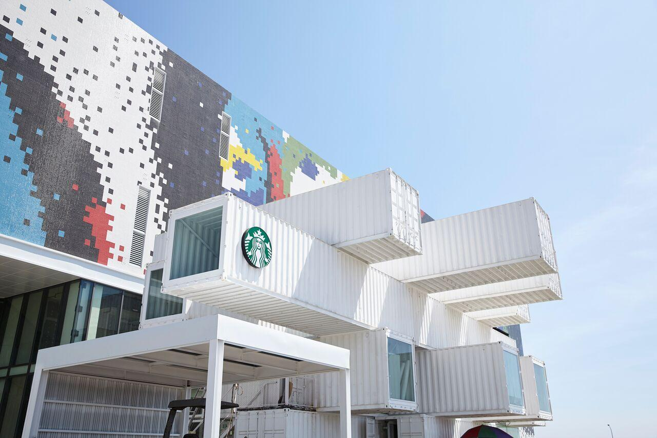 The Hualien Bay Mall Starbucks is one of 45 shipping container-based Starbucks created around the world to date