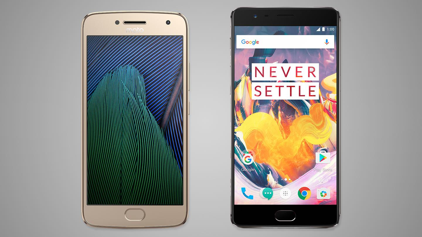 Comparing the new Moto G5 Plus withthe OnePlus 3T,one of the bestvalues in smartphones today