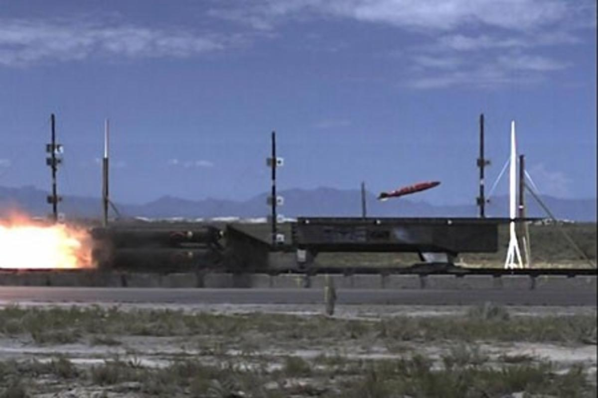A rocket sled employing active flow control releases a MK-82 at Mach 2 Photo: U.S. Air Force