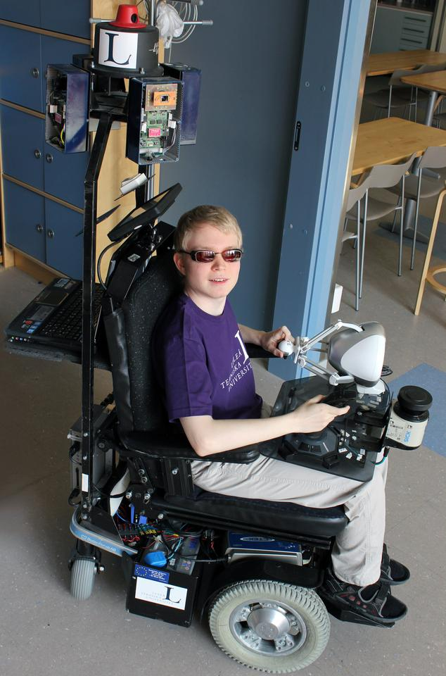 The first public test run was undertaken by student Daniel Innala Ahlmark - who is himself visually-impaired - along one of the busy corridors of the Lulea University of Technology's Computer Science, Electrical and Space Engineering Department