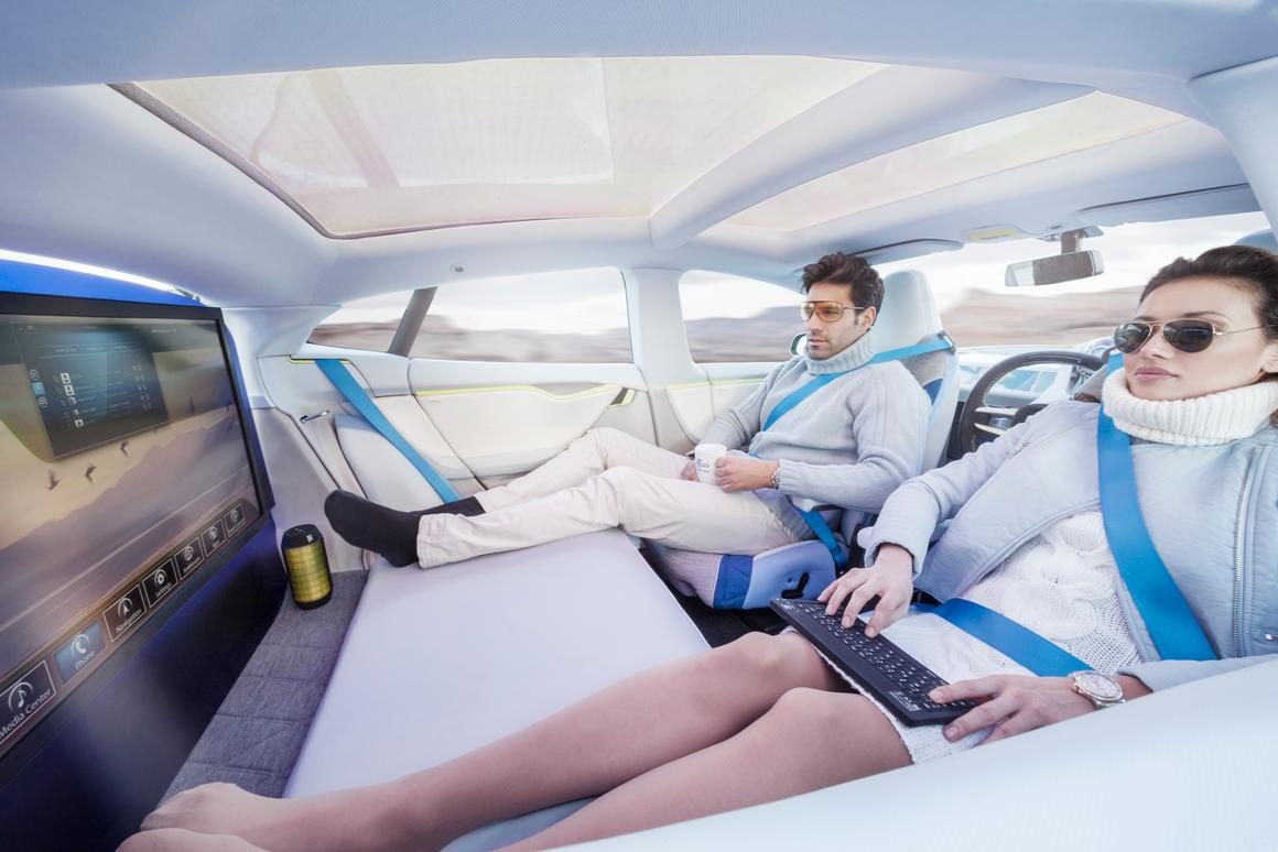 Passengers can swivel seats 180 degrees to chat with rear occupants, or watch on-demand UHD movies on the 32-inch 4K monitor hidden in the rear seat