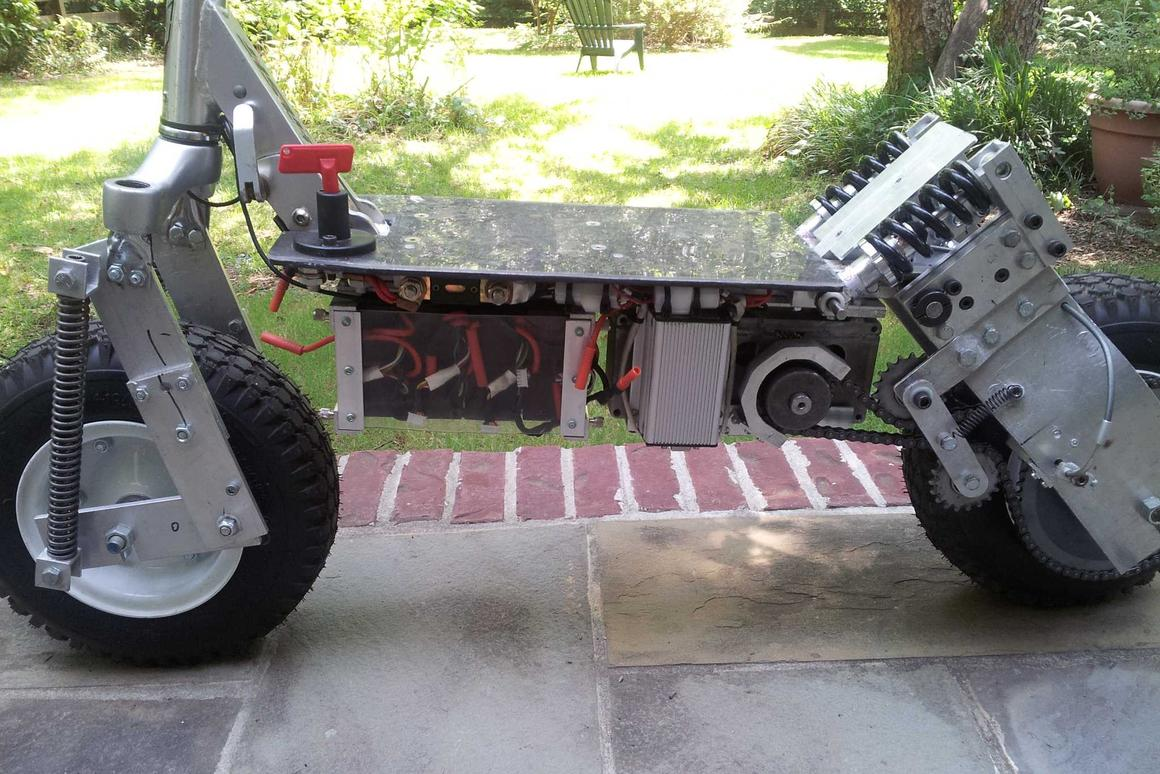 Kick scooter converted into awesome all-terrain electric scooter