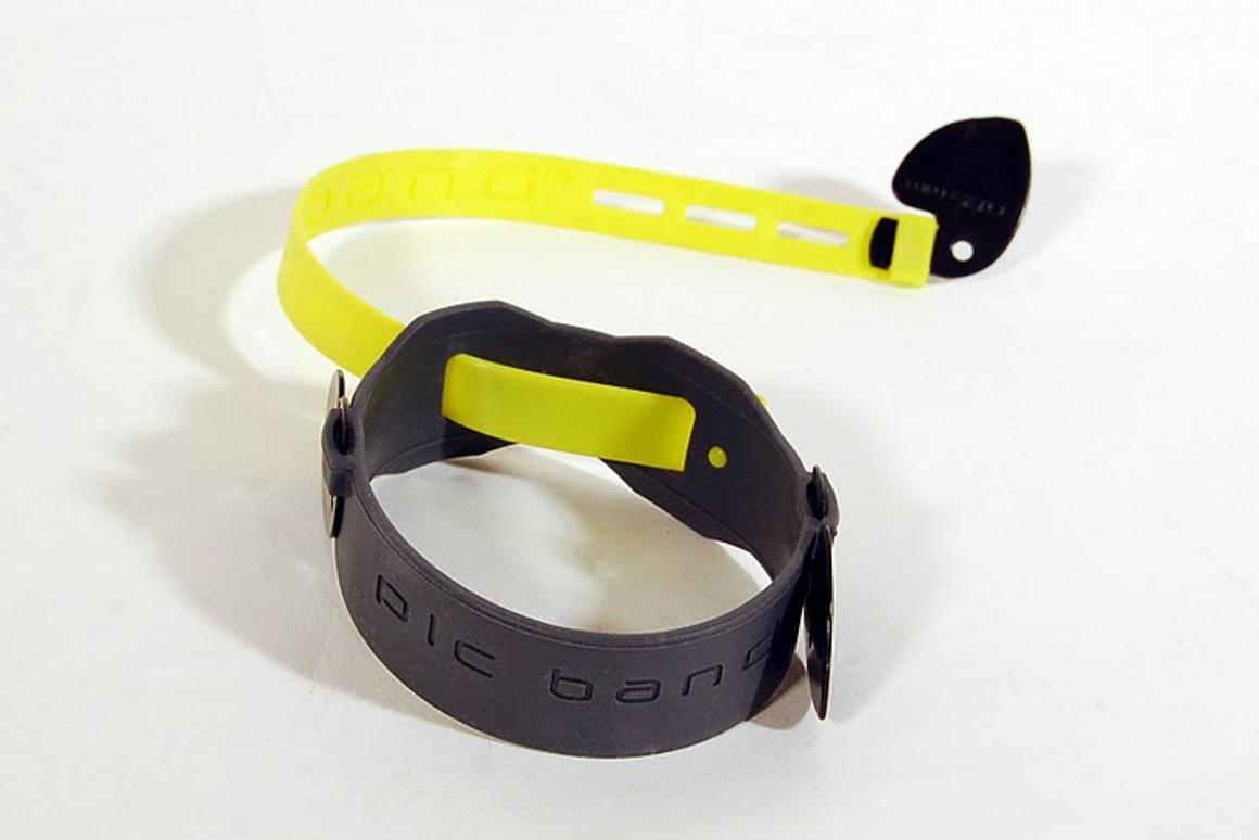 The PicBand system tethers a pick to a player's wrist or fingers so that it's always within reach