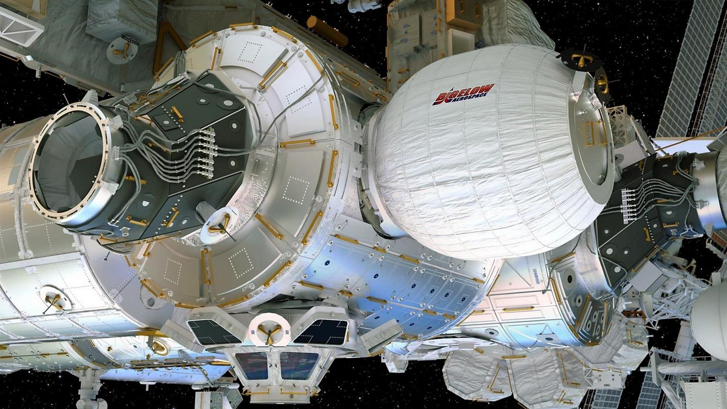 Artist's concept of the Bigelow Expandable Activity Module attached to the International Space Station's Tranquility module and inflated