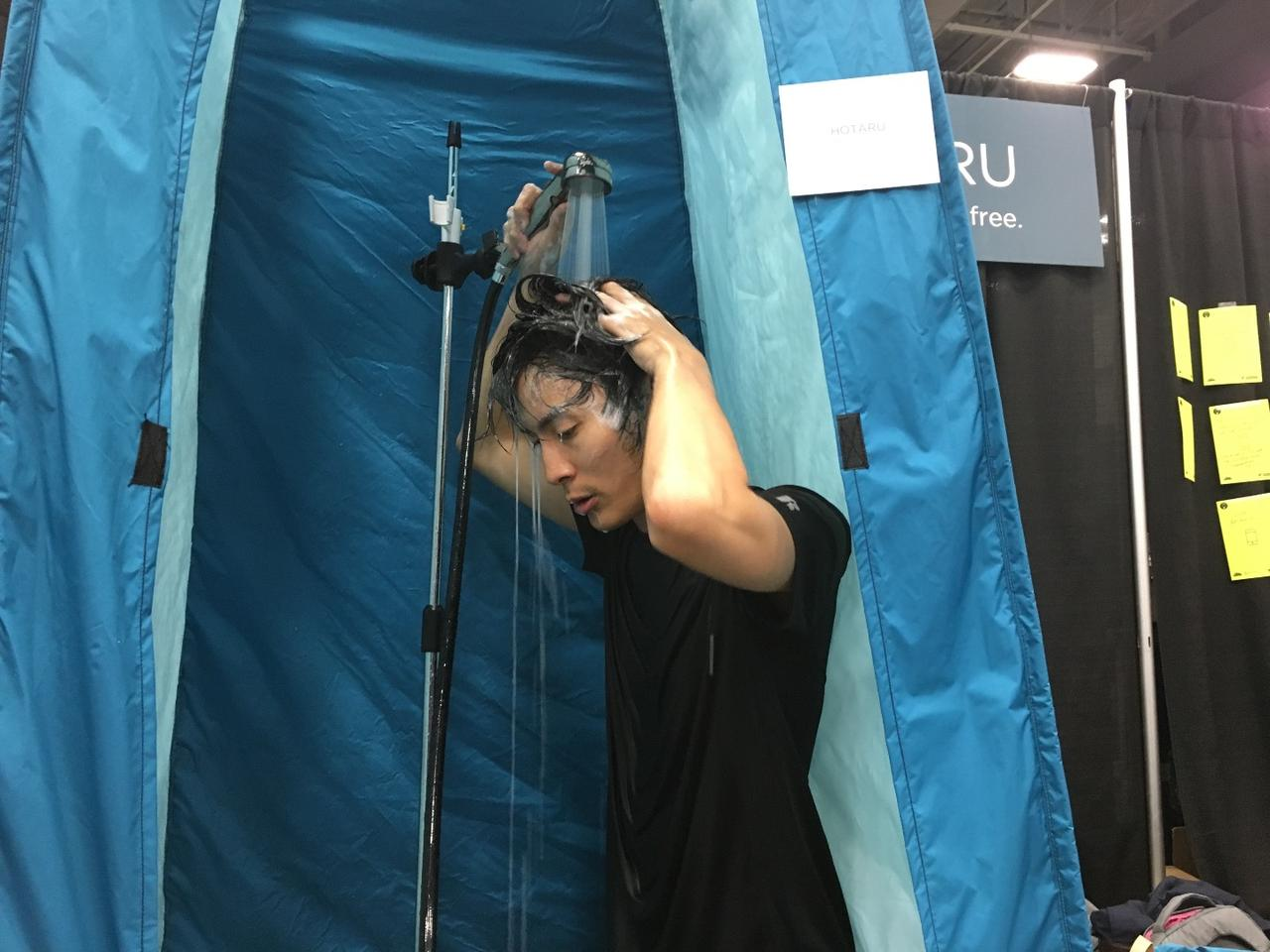 One of the Hotru creators getting clean at the SXSW trade show