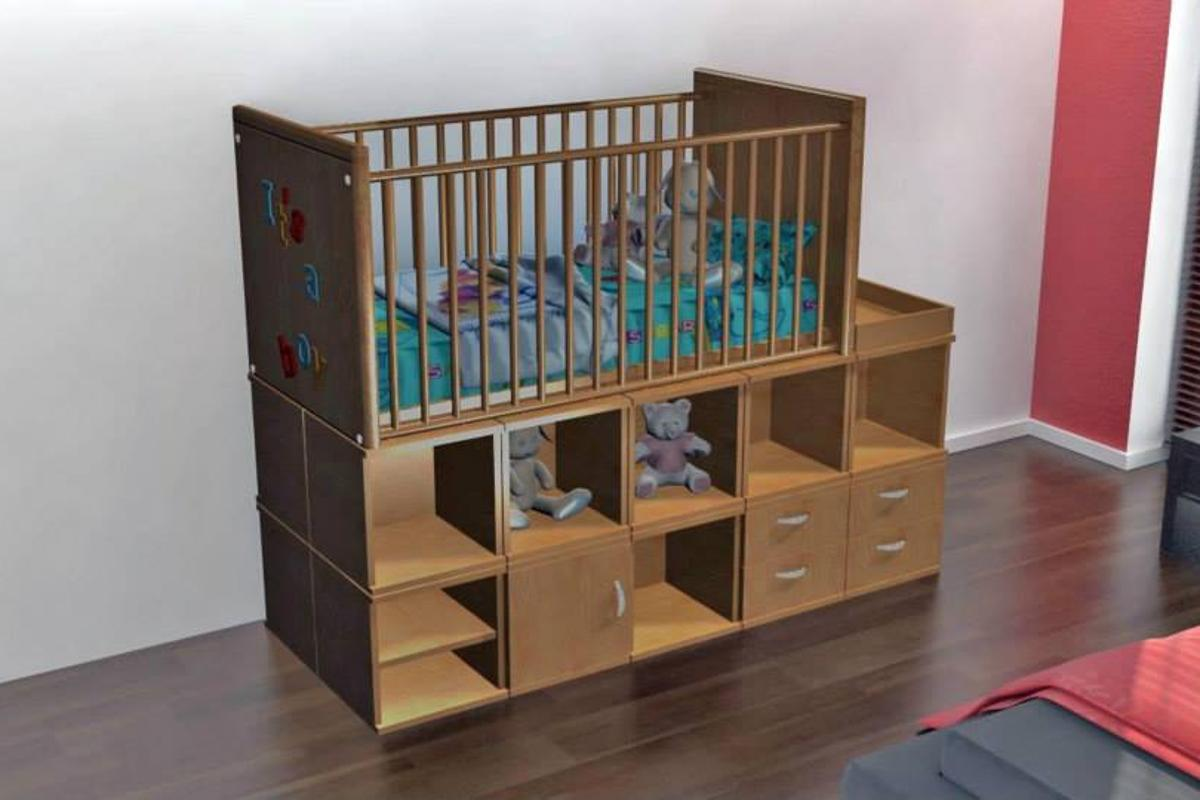 ModCubes can be reconfigured to form different pieces of furniture, such as this crib/cupboard unit