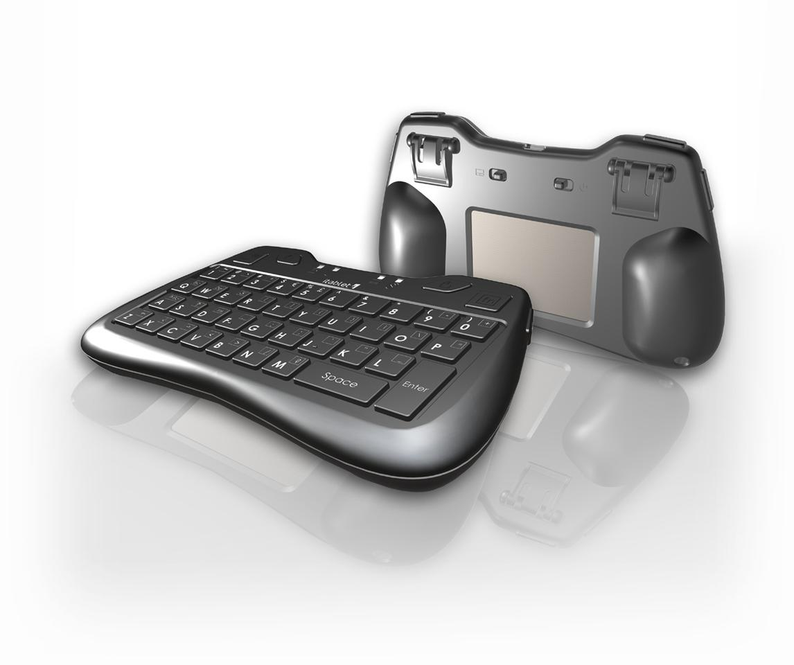 The itablet Thumb Keyboard with front facing QWERTY keyboard and rear-facing touchpad