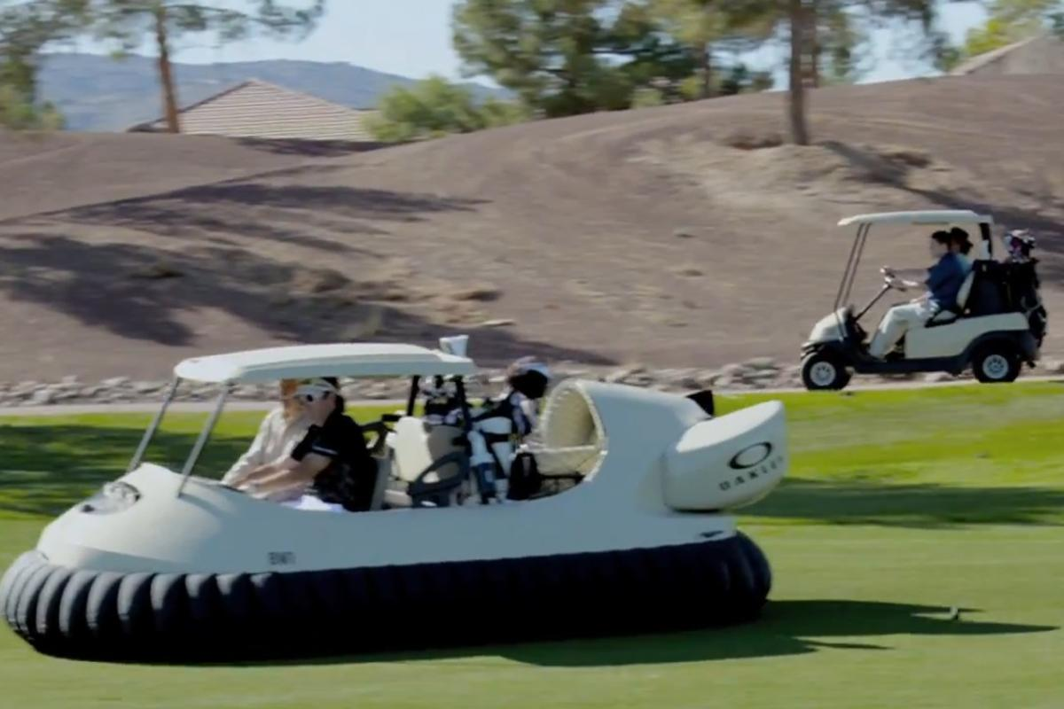Pro golfer Bubba Watson teamed up with Oakley to produce the BW1, the world's first hovercraft golf cart