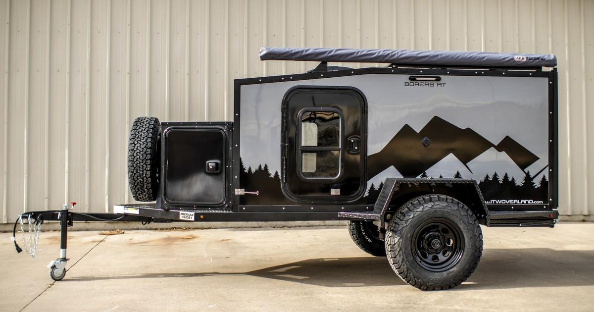 Boreas composite off-road camper trailer leaves the wood in the forest