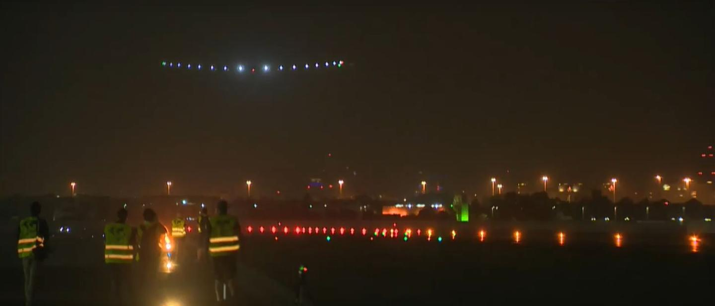Solar Impulse 2 touching down for the last time on its round -the-world trek