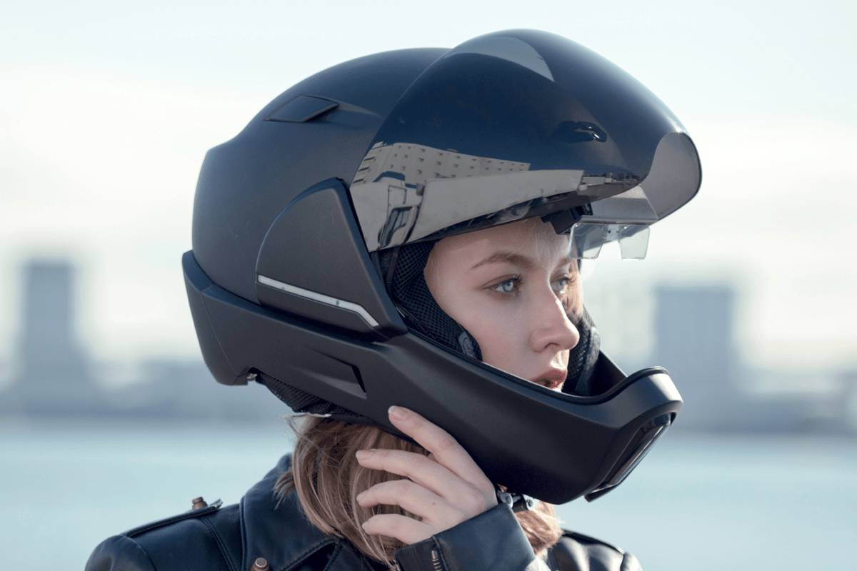 CrossHelmet: an advanced motorcycle lid with built-in 360-degree camera vision, noise cancelling and touch controls