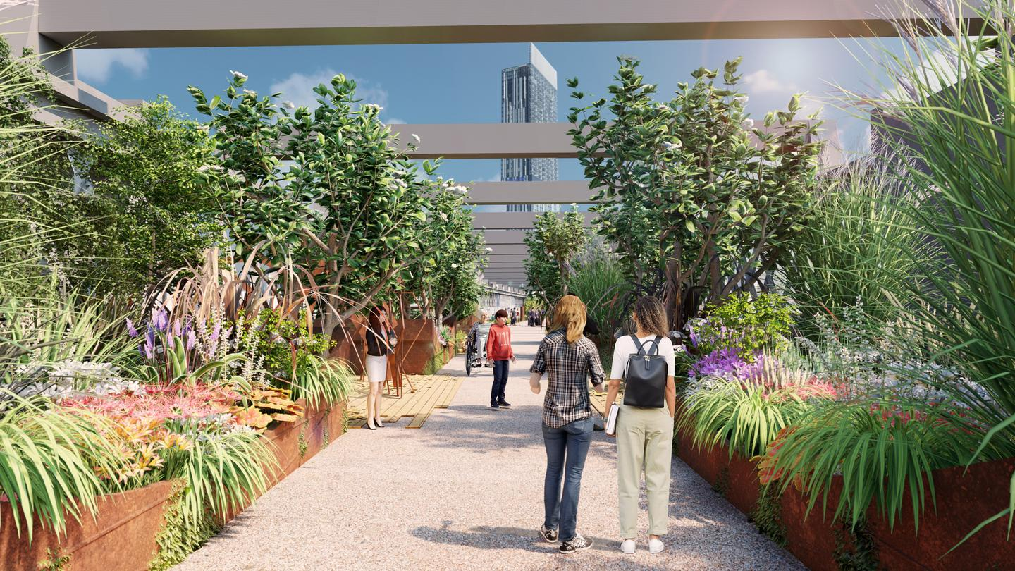 The first phase of the Castlefield Viaduct raised park is due to open in mid-2022