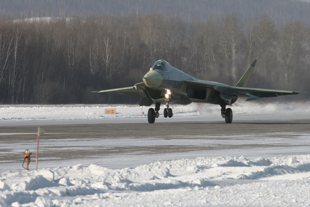 The Russian T-50 PAK-FA fighter jet prototype taking its maiden flight