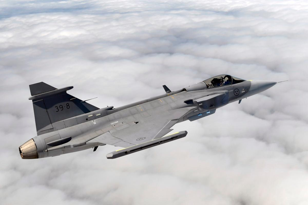 The Gripen E went supersonic for the first time during a test flight over the Baltic Sea