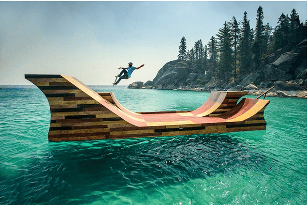 A 7,300 lb (3,311 kg) floating skateboard ramp was installed on Lake Tahoe as part of Visit California's Dream365 tourism campaign