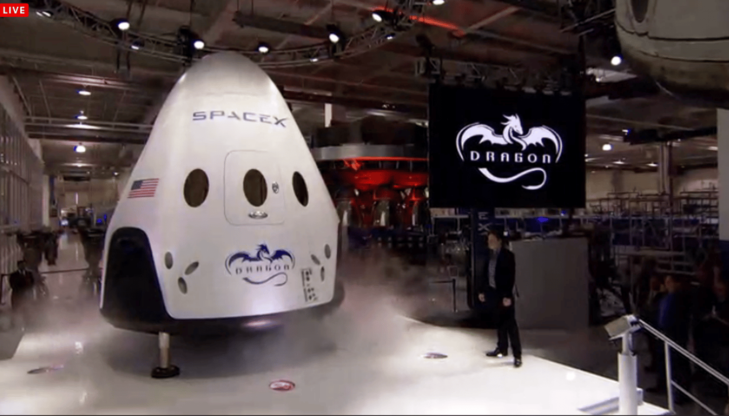 The Dragon V2 was unveiled at a brief media event
