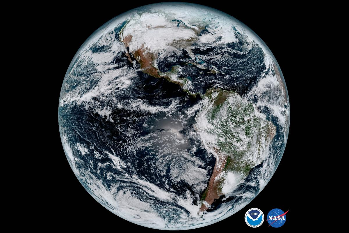Composite image of Earth's full disk as captured by GOES-16's Advanced Baseline Imager Instrument at 1:07 p.m. EDT on Jan. 15. 2017
