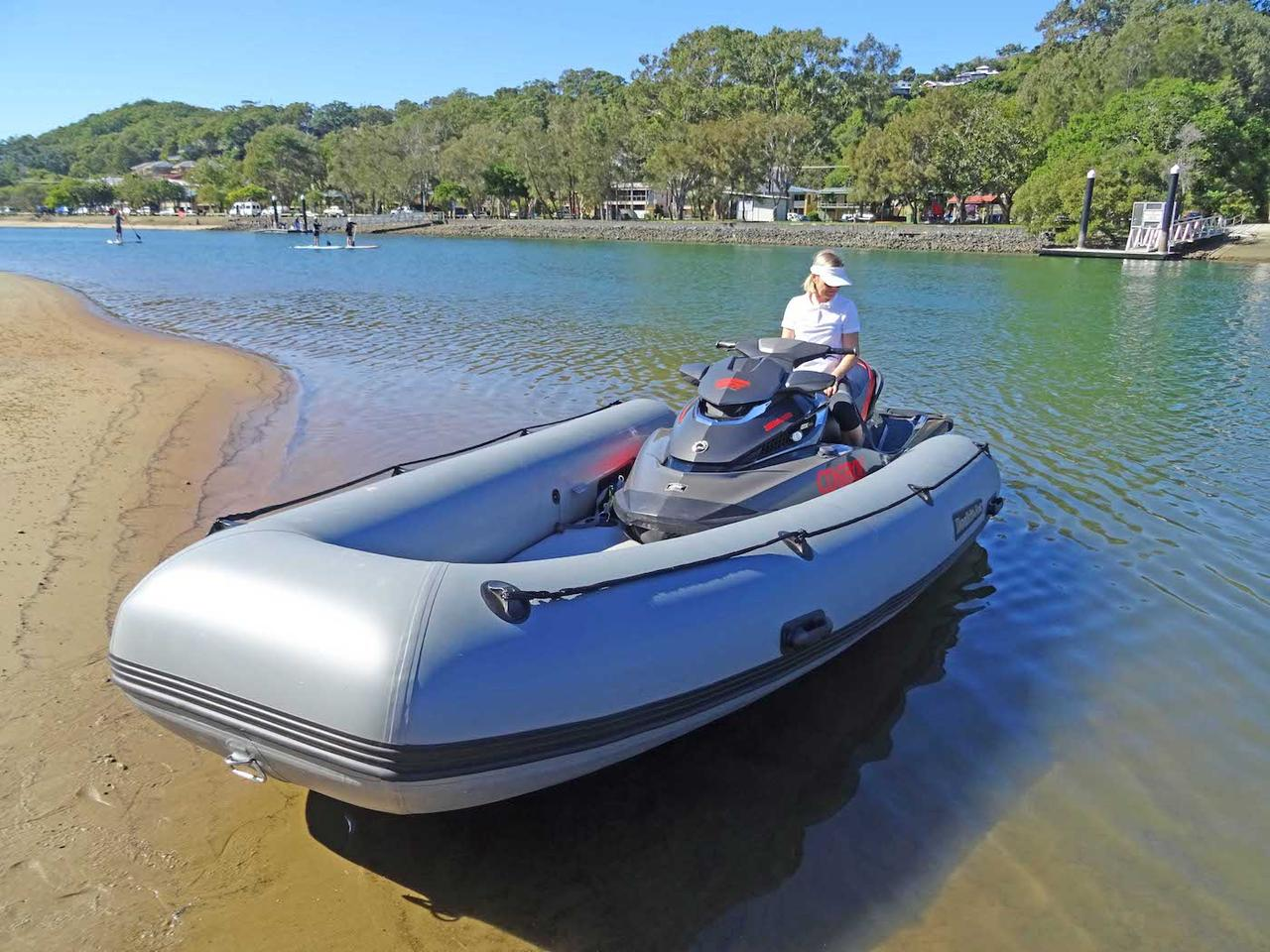 Dockitjet's inflatable boat is powered by jetskis and can carry up to six people