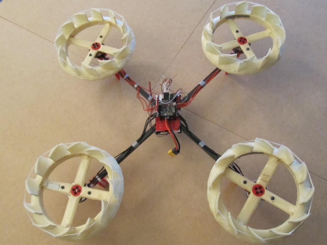 Instead of the traditional propellers, the Whisper Drone utilizes ring-shaped vaned rotors