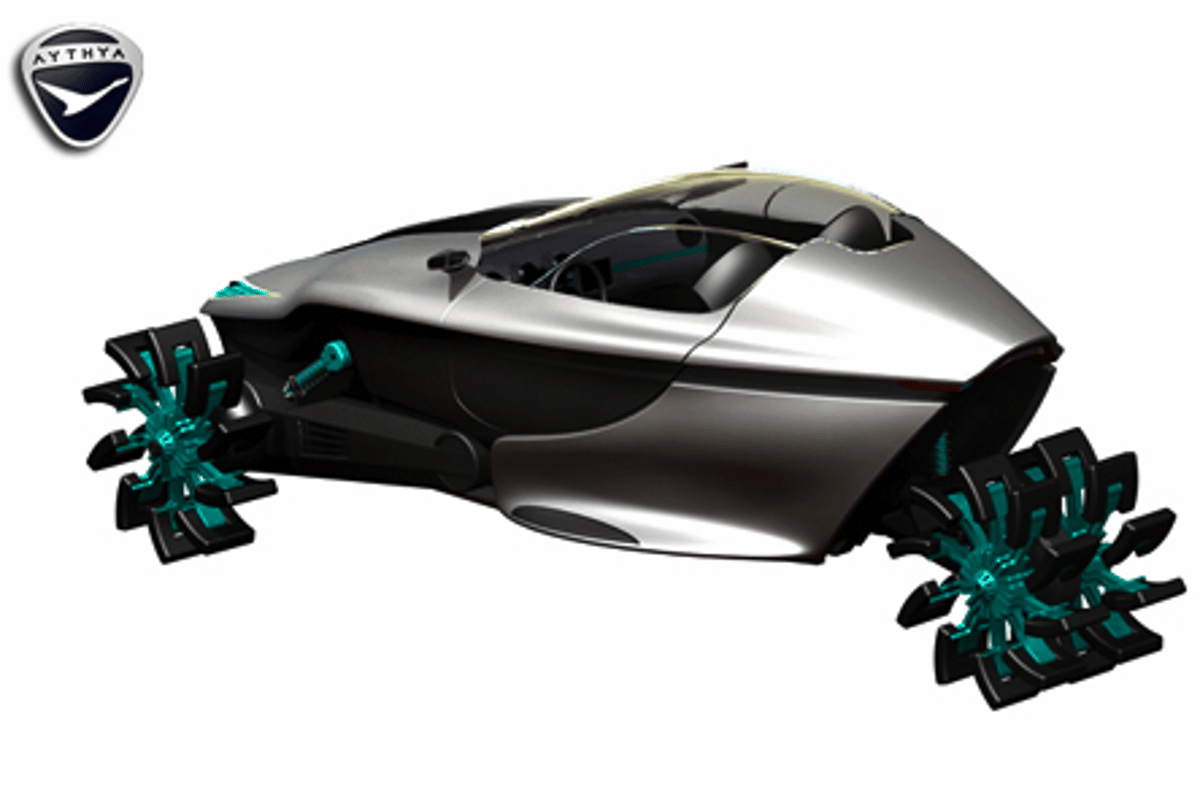 From street car to mean marine ... this concept car's tires are extremely adaptable