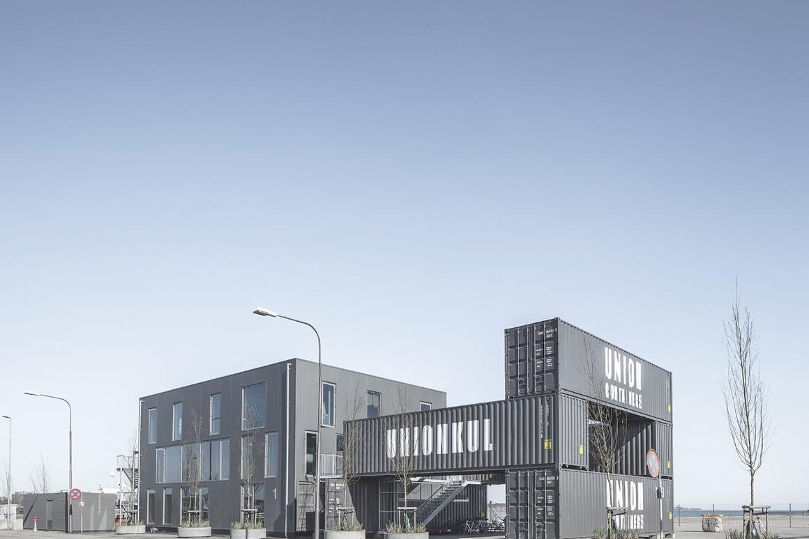 Made to be Moved, by Arcgency,is ashipping container-basedoffice that can beeasily dismantled andmoved to another location