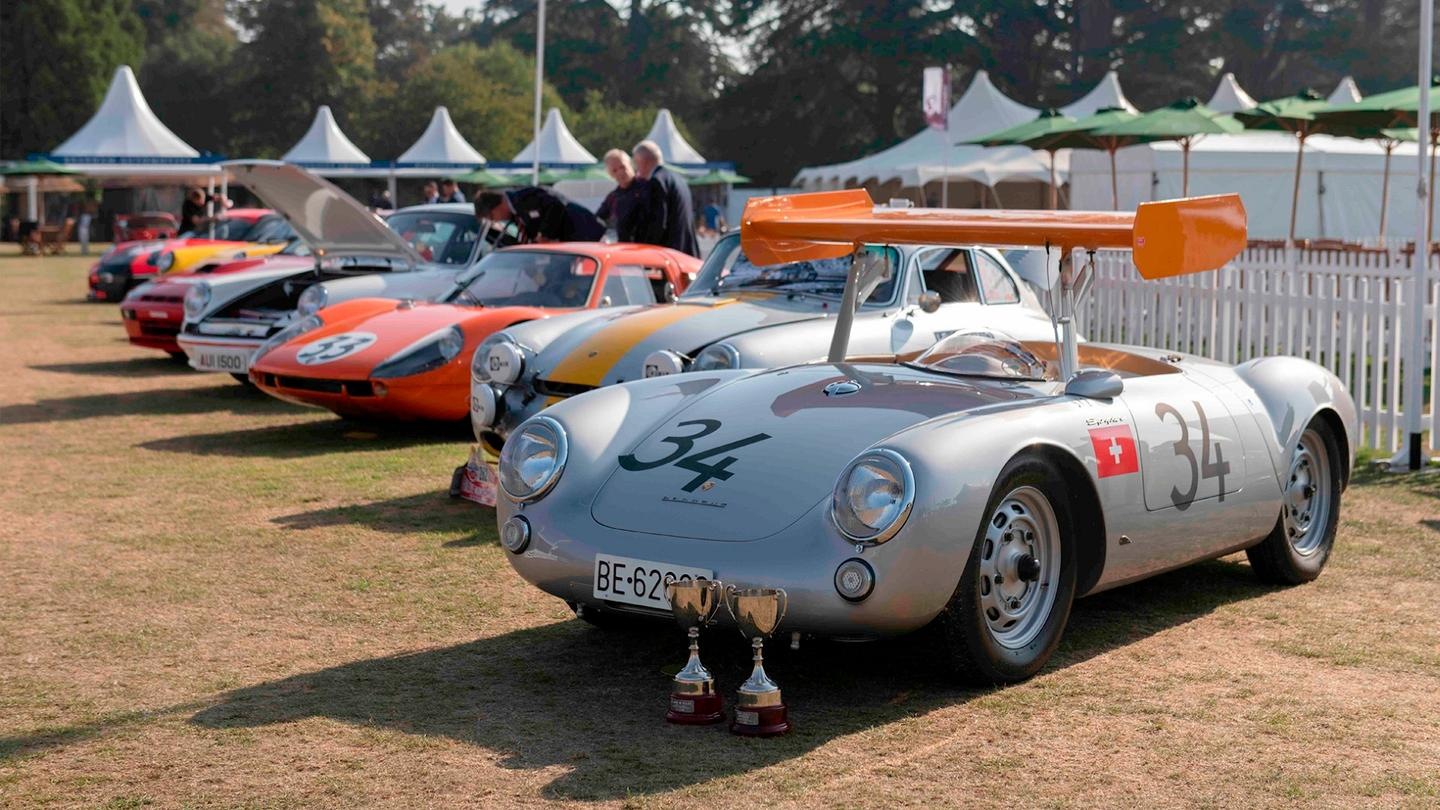 "Some of the entrants from the 2018 Concours Masters Celebration of 70 Years of Porsche, fronted by the winner of the ""Most Technically Interesting"" award, a 1955 Porsche 550 RS Spyder"