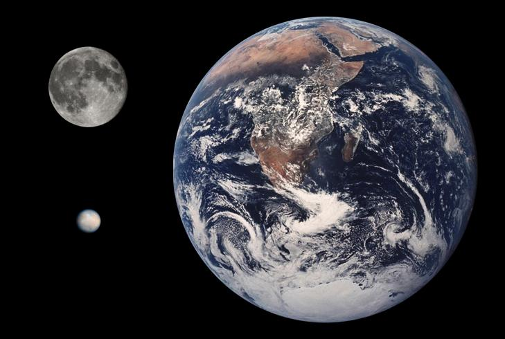 Comparison of Ceres, the Moon, and Earth (Image: NASA)