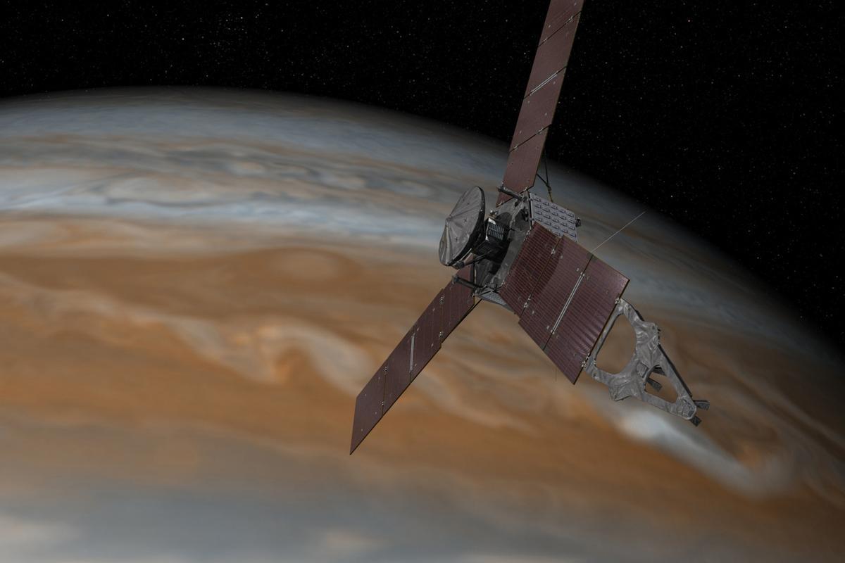 An artist's rendering of Juno in orbit around Jupiter