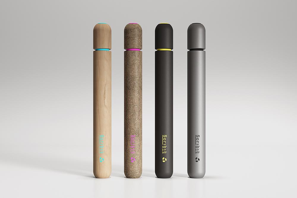 The Scribit Pen's barrel is constructed from a variety of materials