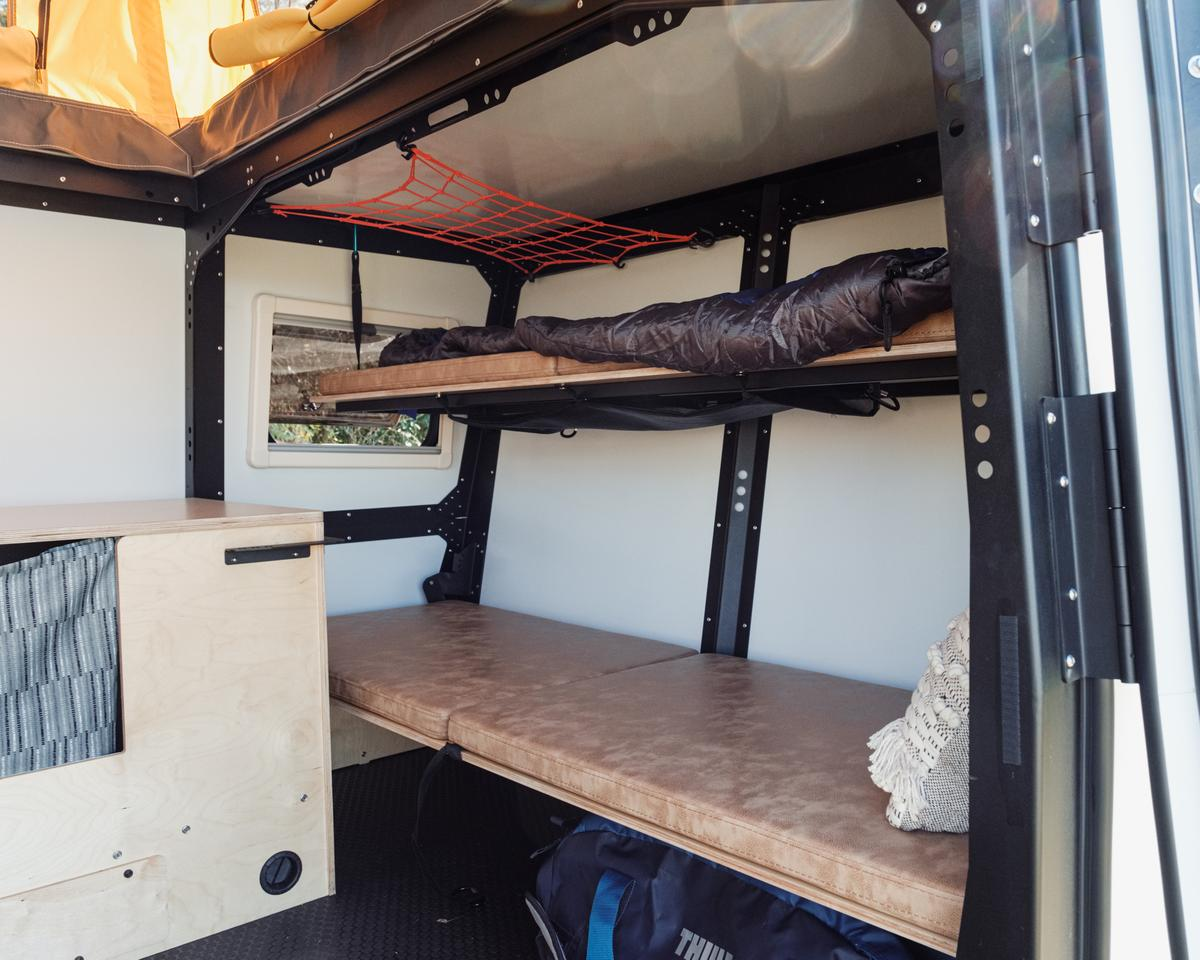 Taxa has widened the front bunks, which double as a front seating bench