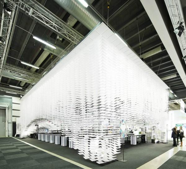 """Wingårdh designed the dome shape by hanging the paper from a flat roof panel, and an """"altar"""" displays discussion panels running throughout the week (Photo: Tord-Rikard Söderström)"""
