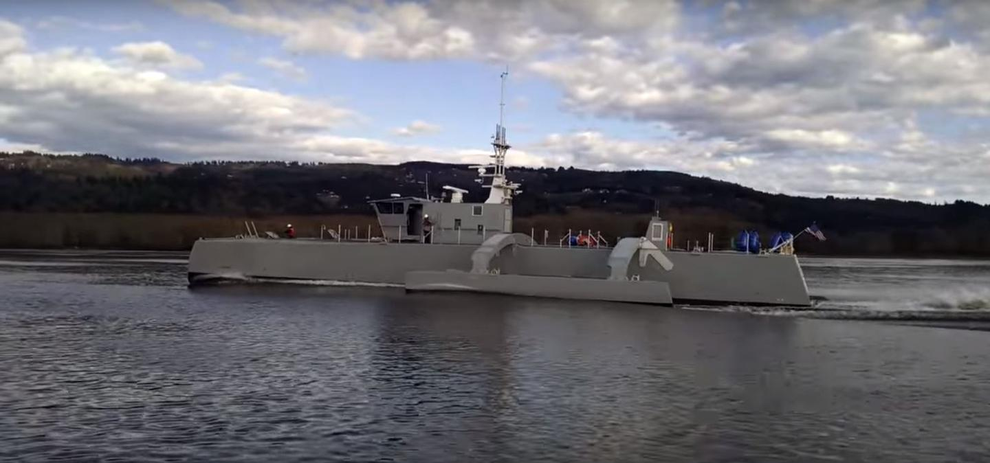 Sea Hunter undergoing speed trials in March
