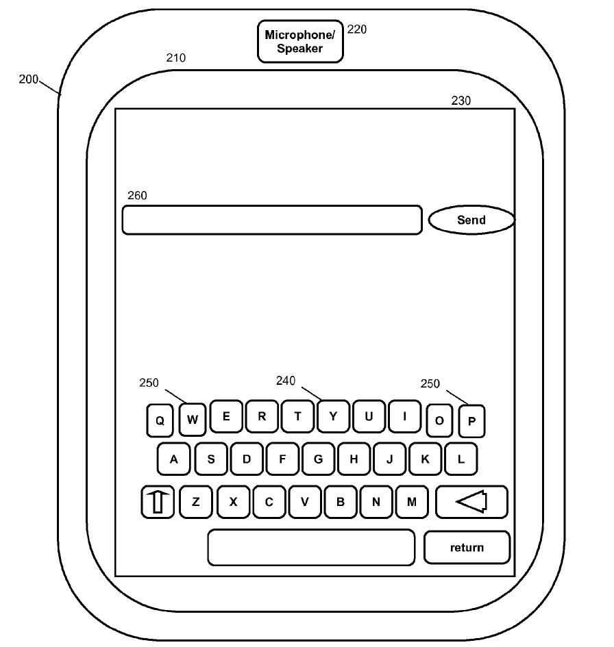 Illustration from IBM's patent application for a morphing touchscreen keyboard