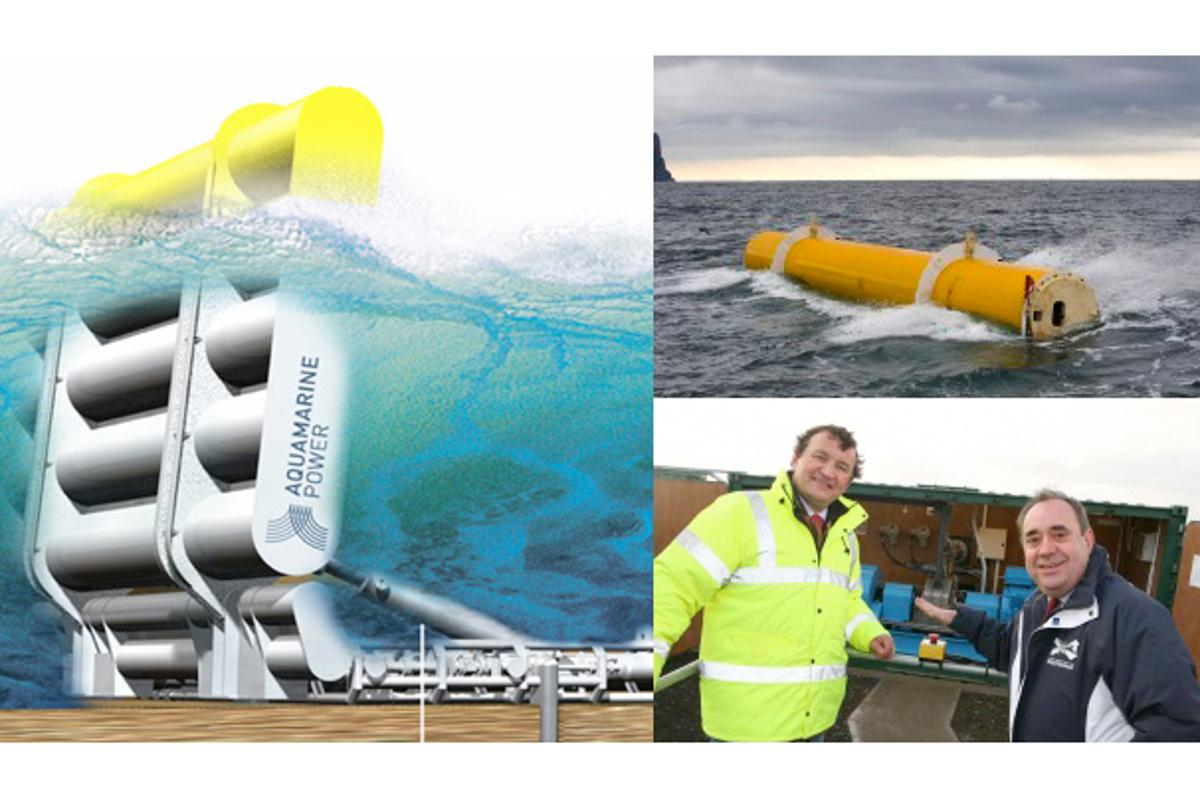 The Oyster wave energy device was launched this week by Scotland's First Minister Alex Salmond MP, MSP, pictured here with Aquamarine Power CEO Martin McAdam