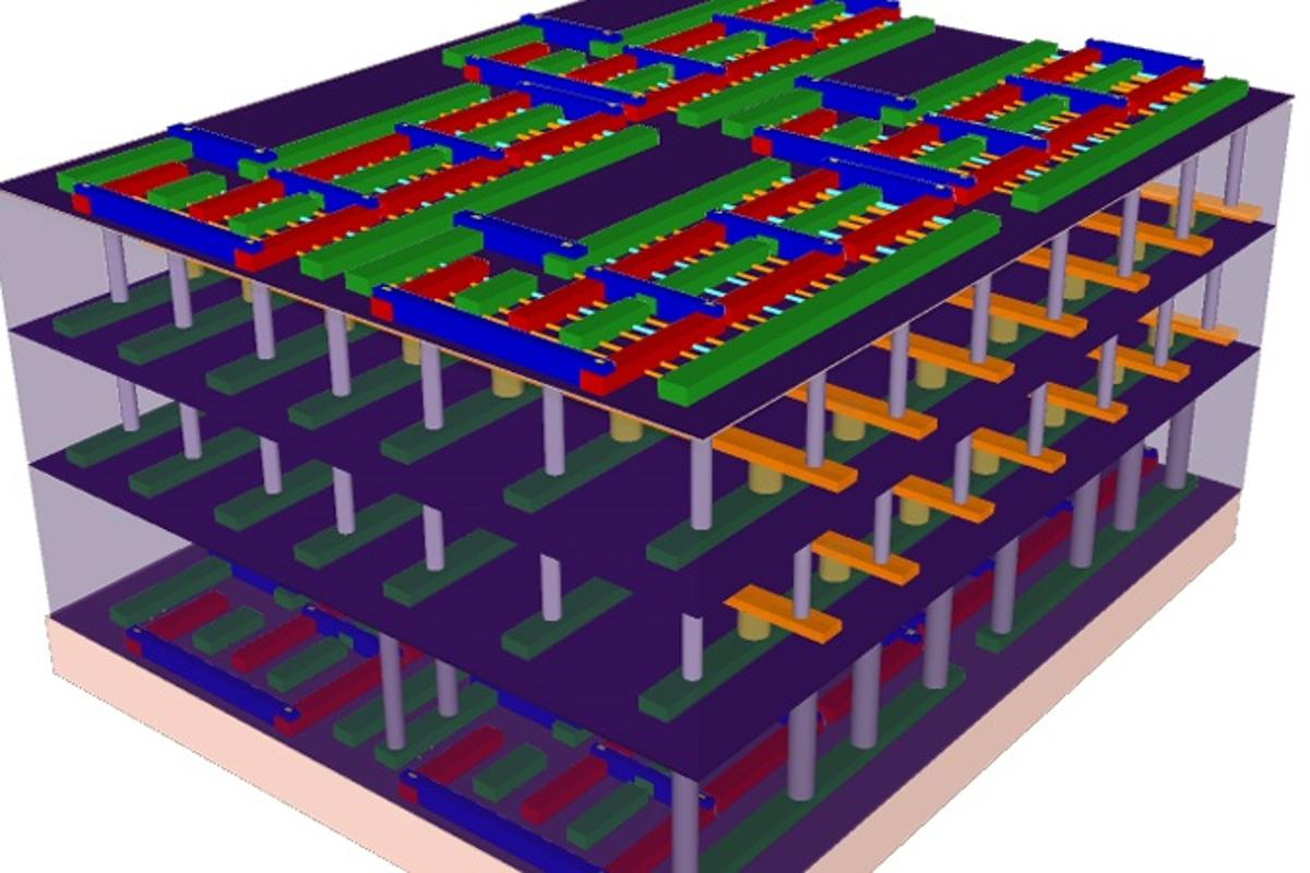 A four-story 3-D chip designed at Stanford could help address the current data processing limitations of today's technology (Image: Stanford University)